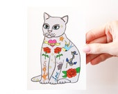 Tattoo Cat Postcard