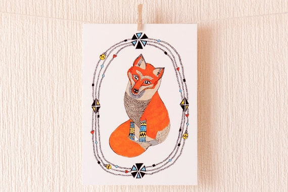 Curious Little Fox Postcard