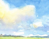 "Landscape Watercolor Print: ""Big Sky"" (4x6)"