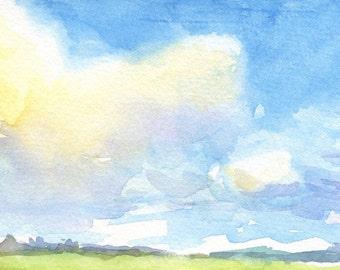 """Blue Sky Watercolor Print, Watercolor Landscape Digital Print, Big Blue Sky Art Print, (8x10"""")"""