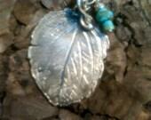 Organic Artisan leaf  - Pure Silver oxidized necklace