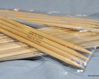 Set of five 8 Inch Double Pointed Bamboo Knitting Needles - Sizes 0 1 2 3 or 4
