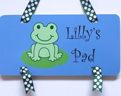 Personalized Frog Childrens Door Sign Wall Art Decor