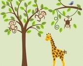 Jungle Safari Monkey on Tree  Giraffe Wall Decal Nursery Decor  Baby Child Vinyl Sticker