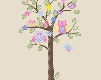 Children Owl Tree Wall Decal Owl Nursery Decor