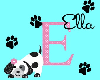 Dog Children Wall Decal Puppy Nursery Decor Wall Art Personalized