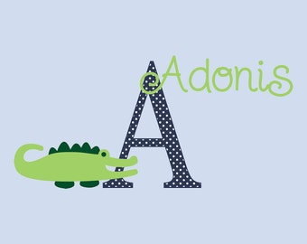 Alligator with Monogram and Name Wall Decal - Removable and Reusable