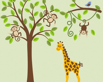 Jungle Safari Monkey on Tree  Giraffe Wall Decal Nursery Decor  Baby Child Vinyl Sticker