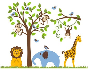 Jungle Safari Monkey Tree Wall Decal Giraffe Decal Lion Elephant Nursery Decor
