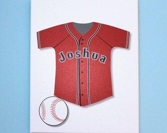 "Baseball Jersey Sports Wall Art Stretched Canvas Nursery Decor 11"" x 14"""