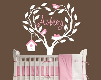 Personalized Heart Tree Decal Nursery Decor baby