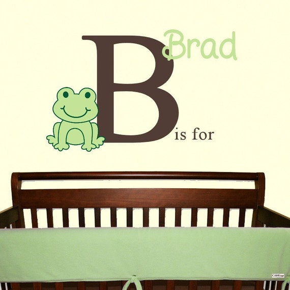 Frog Wall Decal Nursery Decor Monogram Name Sticker