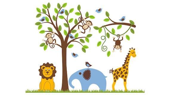 Jungle Safari Monkey Tree Giraffe Lion Elephant Wall Decal Nursery Decor Baby Child OHSC