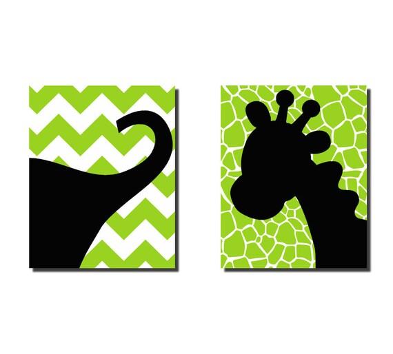 "Kids Wall Art Elephant Giraffe Safari  Nursery Wall Art  2 16"" x 20"" Stretched Canvas Chevron OHSC"