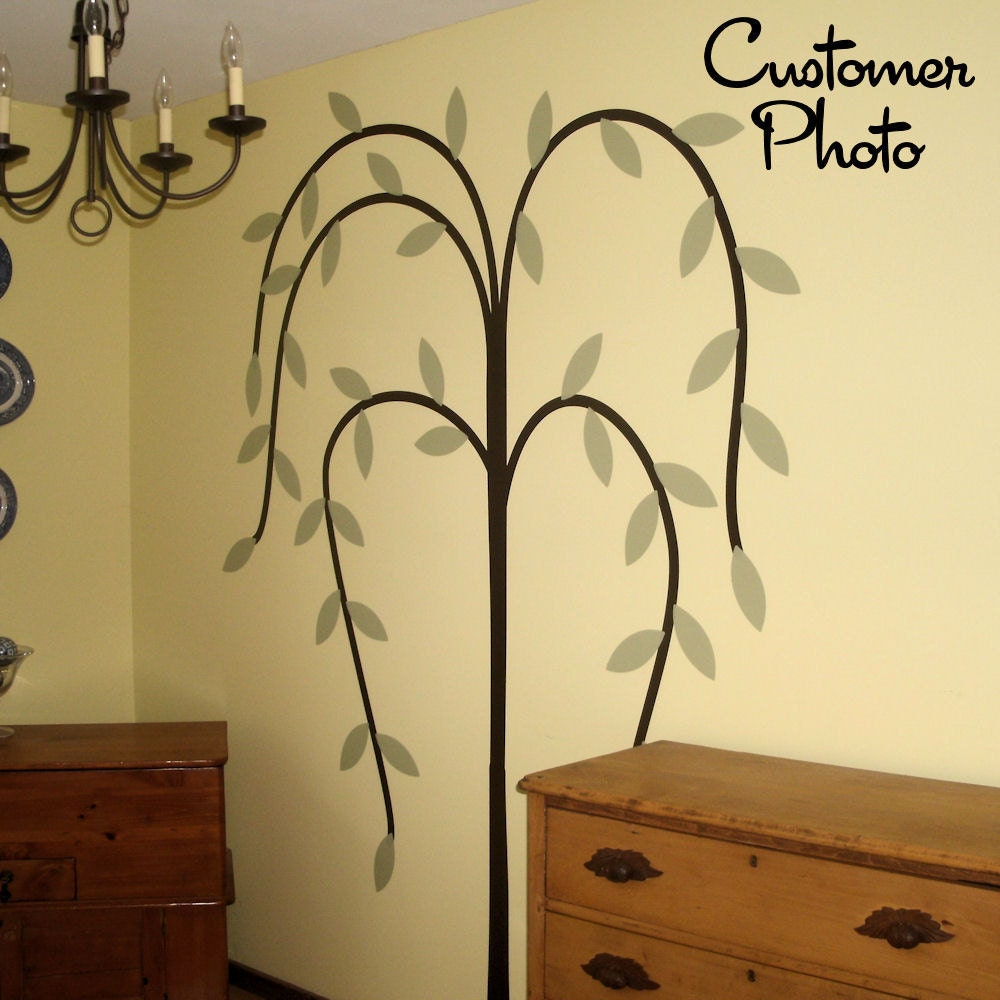 Primitive willow tree wall decal country home decor for Country wall mural