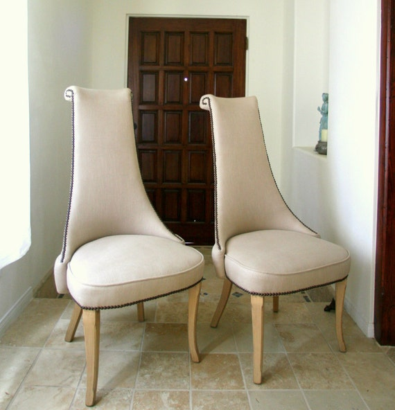 Vintage Chairs Mid Century Grey Linen High Back