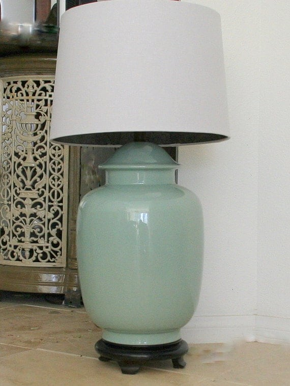 Vintage Table Lamp Ginger Jar Crackle Aqua