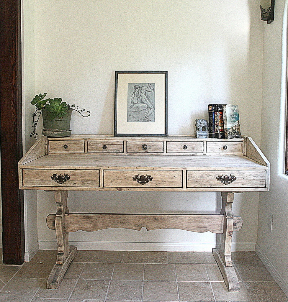 Vintage Desk Rustic Grey Hand Finished With Drawers