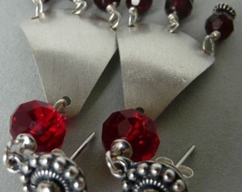 earrings with garnet and swarovski