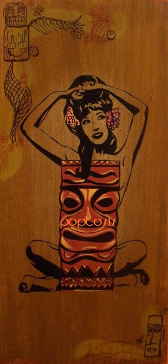 TIKI WOW WOW  1ft.x2ft. painting on wood