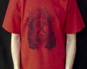 Jesus Face Scripture Shirt .. Anvil Red Tshirt .. xs, s, m, l, xl, xxl