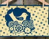 Handprinted Fabric - Stockholm design in sunflower yellow