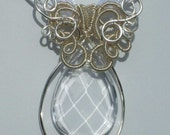 Faceted Clear Crystal Tear Drop Pendant: Wire Wrapped with a Touch of Elegance