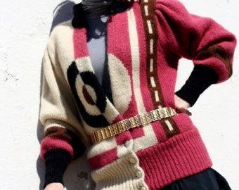 Mod Squad......80s Vintage Asymmetrical Abstract Retro Womens Sweater avant garde mixed media Chinese New Year 2017 Runway Art Iris Apfel