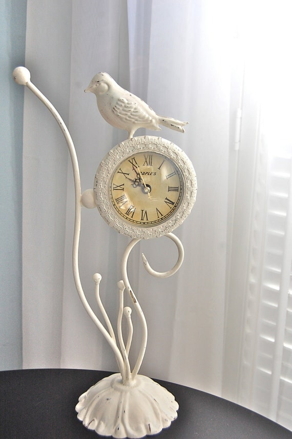 White Bird Decorative Table Or Desk Clock Shabby Chic Cream