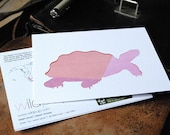 Desert Tortoise Recycled Note Card : Colorful, Geometric Animal Silhouette - Fun, Eco friendly, Educational Stationery