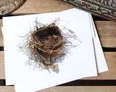 Note Card - Nest (no. 14)  : Eco friendly, Recycled, Nature Inspired, Rustic, Stationery - Pine needles, Leaves and Cattail Reeds
