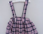 Vintage 1950s Baby Girls Suspender Skirt / Red Plaid