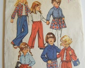 Vintage 1970s Toddler Girl Wardrobe Pattern / Skirt, Pants and Shirt Jacket Pattern / Size 2 Child No 5875