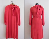 Vintage 1960s Red Dress with Tie Neck and Belt