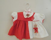 Vintage 1960s Baby Dress  / Baby Shirt / Red and White Scarecrow