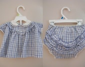 Vintage 1950s 2 Piece Baby Outfit / Diaper Cover and Shirt / Blue and White Plaid