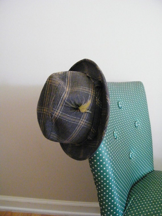 Vintage 1960s Hat MAD MEN Plaid Fedora