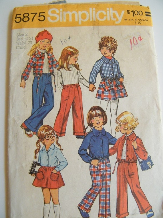 Vintage 1970s Toddler Girl Wardrobe Pattern / Skirt, Pants and Shirt Jacket Pattern / Size 2 Child No 5875
