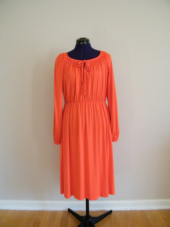 RESERVED FOR JEN Vintage 1970s Peasant Dress / Tomato Red