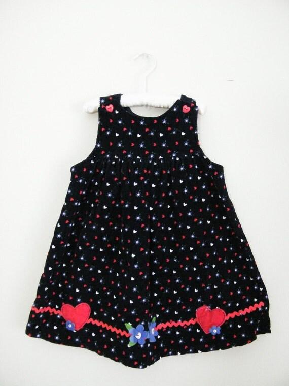 Vintage 1980s Blue Corduroy Girls Dress / Size 4T