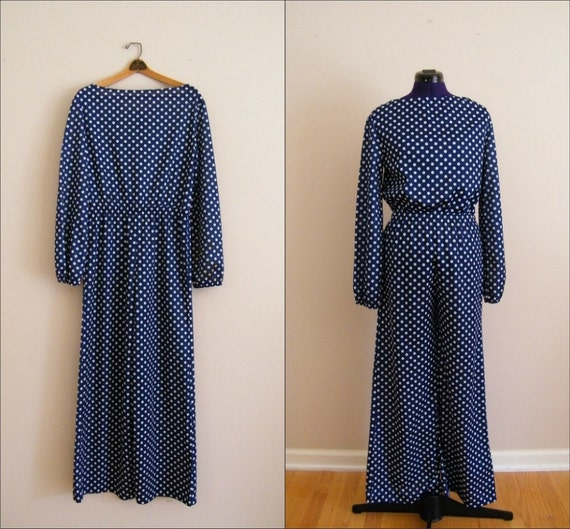 Vintage 1970s Jumpsuit / Palazzo Pants / Bell Bottoms / Blue and White Polka Dots