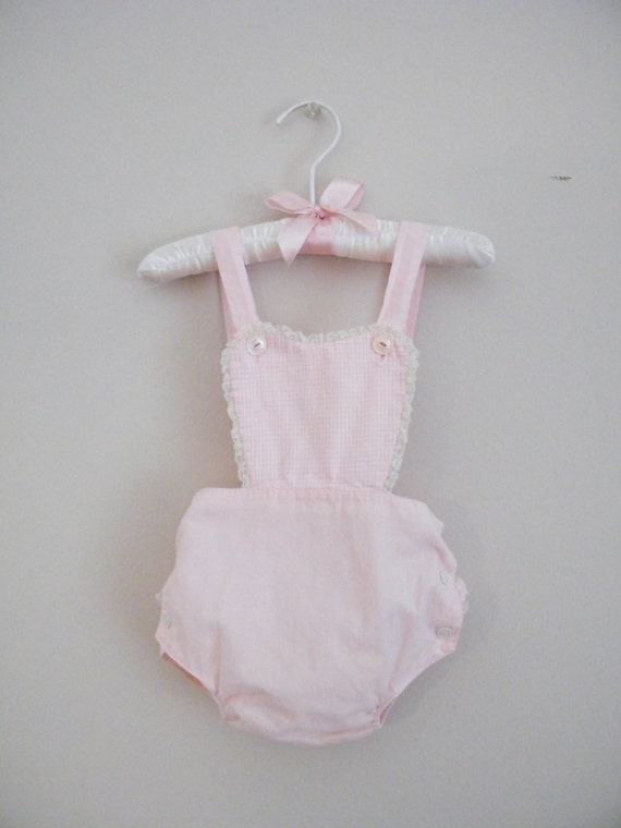Vintage 1950s Baby Sunsuit Romper -- Size Small -- Pink and White Checks
