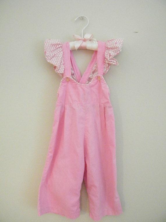 Vintage 1960s Pink Toddler Overalls -- Size Medium -- Ruffles