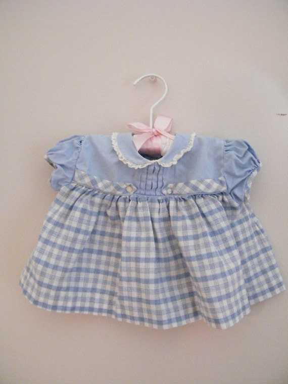 Vintage 1950s Baby Top / Blue and White Plaid / Nannette