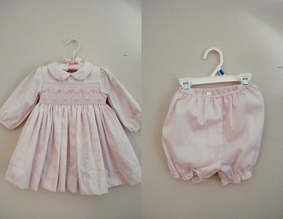 Vintage 1980s Baby Dress with Diaper Cover / Pink Smocking / Size 6 Months
