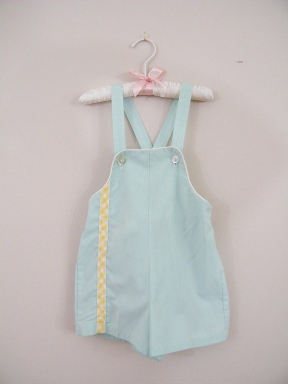 Vintage 1950s Baby Boy Romper / Light Blue and Yellow Shorts Overalls / Size 4T