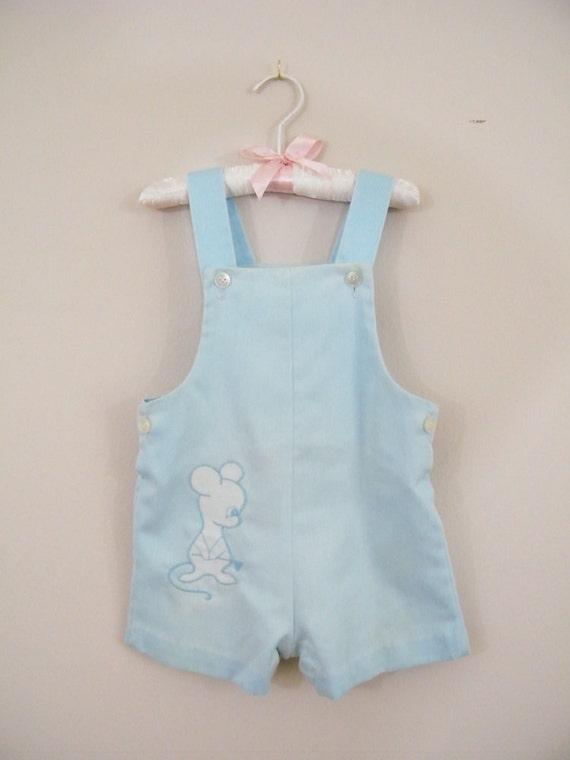 Vintage 1960s Baby Boy Romper / Blue Mouse / 24 Months