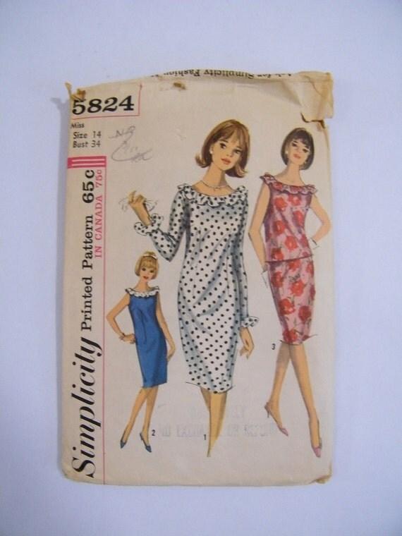 Vintage 1960s Dress Pattern / Simplicity 5824 / 34 Bust 26 Waist 36 Hip / Wiggle Dress Pattern / Mod Dress Pattern