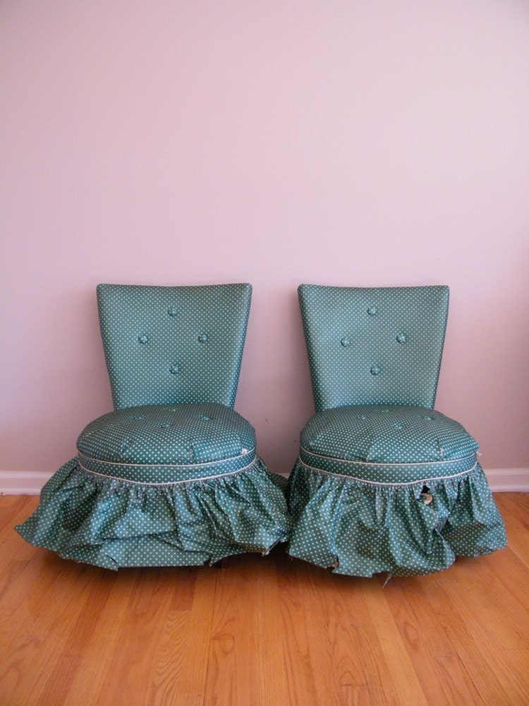 Vintage 1940s Boudoir Chairs Green Polka Dot Vinyl Set Of 2