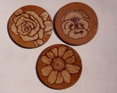 Leather Flower Coaster, Set of 3